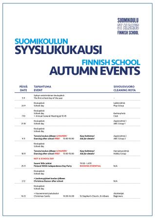 Suomikoulu tanssitunnit ja tapahtumat SYKSY 20172